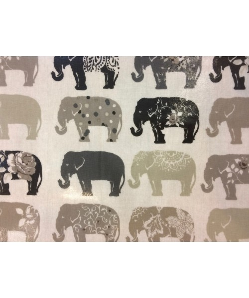 Oilcloth Elephants Natural