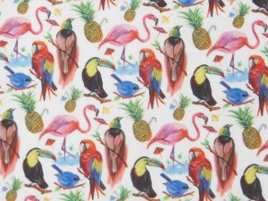 LIBERTY ART FABRIC S/S 100% COTTON LAWN BIRDS OF PARADISE A