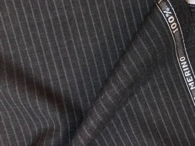 100% Wool Suiting Grey Pin Stripe