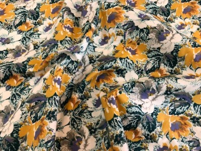 100% Cotton Lawn Sage and Mustard Flower