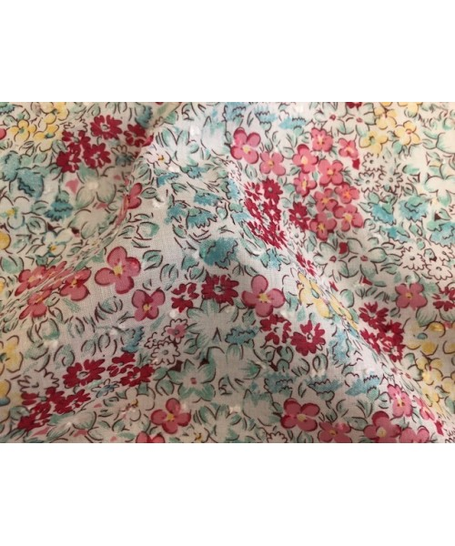 100% Cotton Print Large Coloured Flower Lawn With Embroidered Fleck