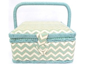 Turquoise Chevron Sewing Basket
