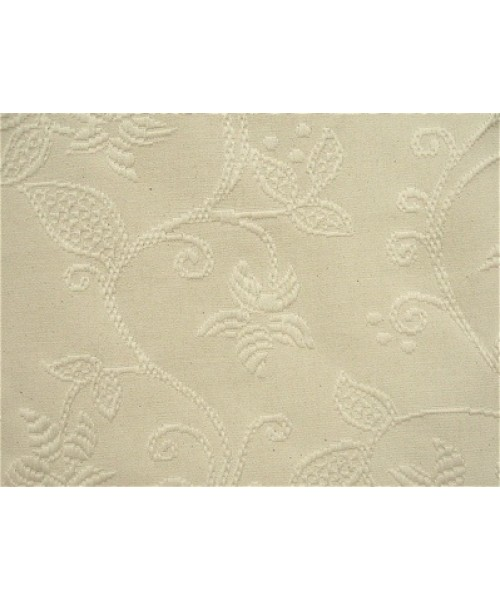 Household Cotton Madras Crewell Cream White
