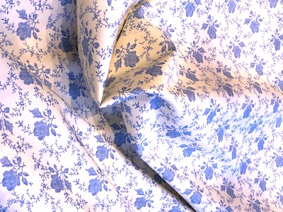 100% Cotton Poplin Cream Blue Floral