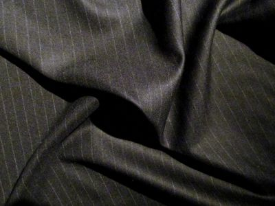100% Wool Suiting Stripe Black Merino 100% Wool Suiting and Wool Gaberdine
