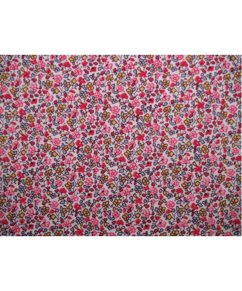 100% Cotton Print Lawn Small Floral Drawing Pink