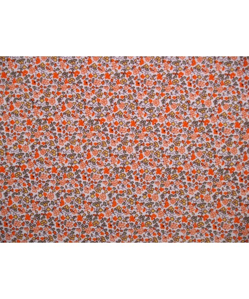 100% Cotton Print Lawn Small Floral Drawing Orange