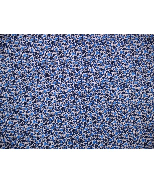100% Cotton Print Lawn Small Floral Drawing Blue
