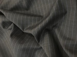 100% Wool Suiting Grey with Purple Pin Stripe
