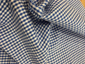 100% Cotton Seersucker Gingham Blue