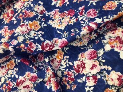 100% Cotton Lawn Blue Flower