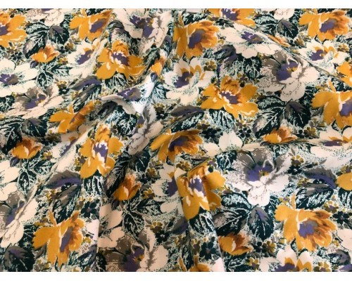 100% Cotton Lawn Sage and Mustard Flower Cotton Prints