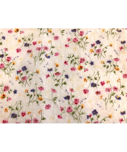 100% Cotton Print Small Coloured Flower Lawn With Embroidered Fleck