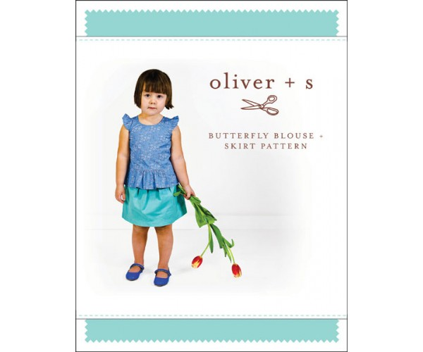 Oliver + S butterfly blouse + skirt sewing pattern Sizes 6 months to age 4 years