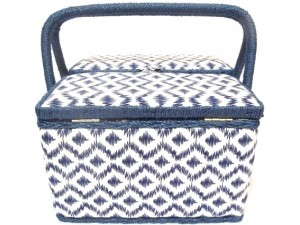 Chevron Blue Large Sewing Basket