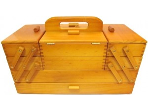 Large Wooden Cantilever Sewing Box
