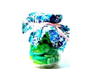 Liberty Print Assorted Green Button Jar