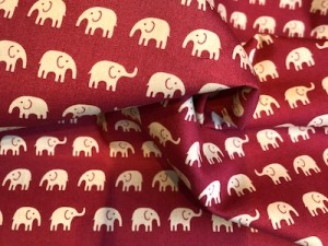 100% cotton Elephants red