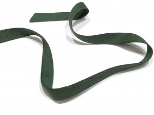 Cotton Herringbone Tape Dark Green 14mm