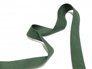 Cotton Herringbone Tape Dark Green 25mm