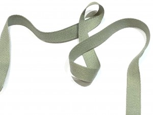 Cotton Herringbone Tape Grey 14mm