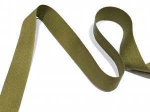 Cotton Herringbone Tape Green 25mm