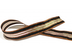 Ribbon Chestnut Stripe Glitter 25mm