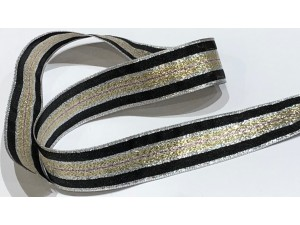 Ribbon Silver Gold Stripe Glitter 25mm