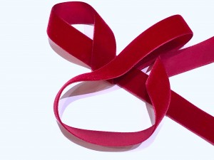 Velvet Ribbon Deep Red 22mm